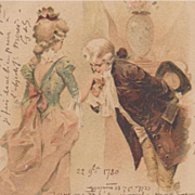 Hand Decorated Art Nouveau French Postcard 1900.