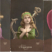 French Trio 'Faith Hope Love' Colored Real Photo Postcards WW1.