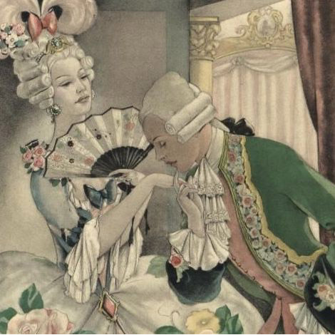 French Brunelleschi 'Regency Couple with Fan' Color Engraving Mid Century 1950.