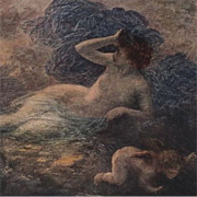 French Artist Early Print 'La Nuit' by Henri Fantin-Latour c1915.