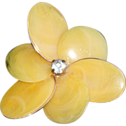 SALE: Yellow Celluloid Large Flower Clip Earrings.
