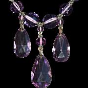 Art Deco Czech Amethyst Glass Necklace. c1920.