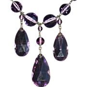 Art Deco Czech Amethyst Glass Necklace. c1920.