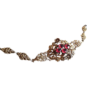 Antique Victorian Repousse and Filigree Brass and Pink Paste Bracelet.