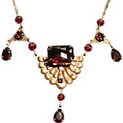 Bohemian Etruscan Revival Brass and Garnet Glass Necklace.