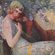 Russian Art Nouveau Artist Postcard 'Vivien and Merlin. c1910.