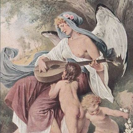 Art Deco Serbian 'Angel of Music' Postcard 1924.