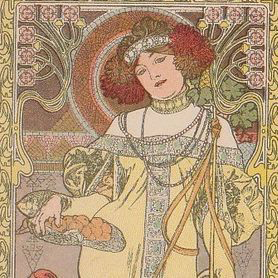 Extremely Rare Alphonse Mucha French Postcard 'Autumn' 1903.