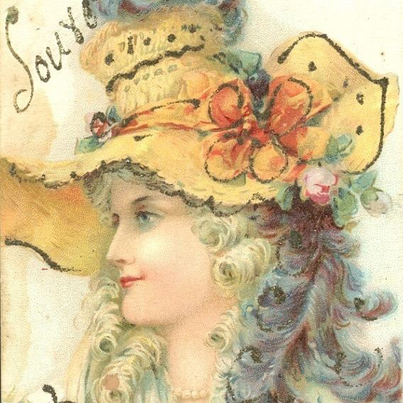 Antique Hand Detailed Lithographic French Signed Postcard c1900.