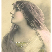 French Hand Colored Real Photo 'Bride' Postcard 1910
