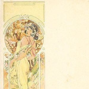 Alphonse Mucha Art Nouveau French 'Ete' Postcard 1900.