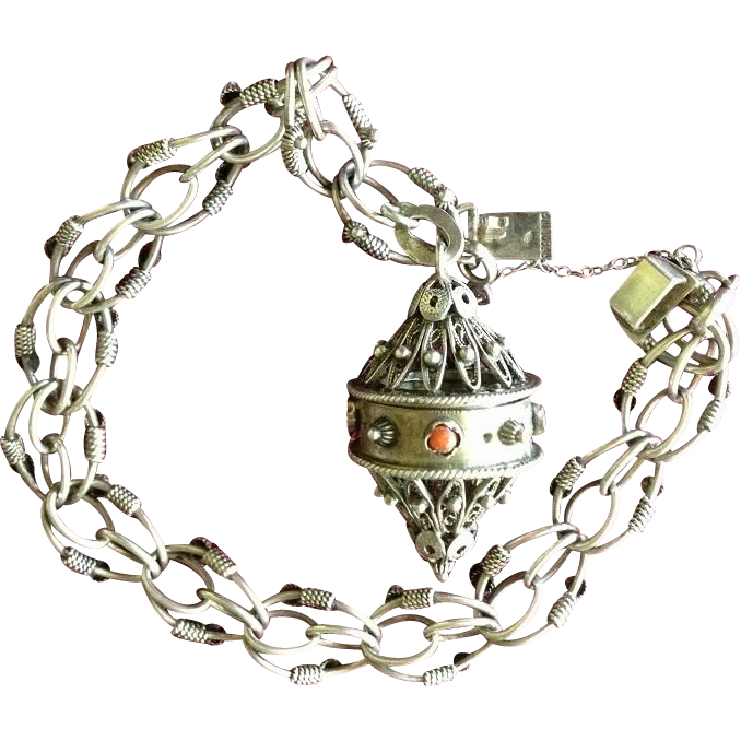 925 Sterling Silver Etruscan Revival Bracelet with Keeper.