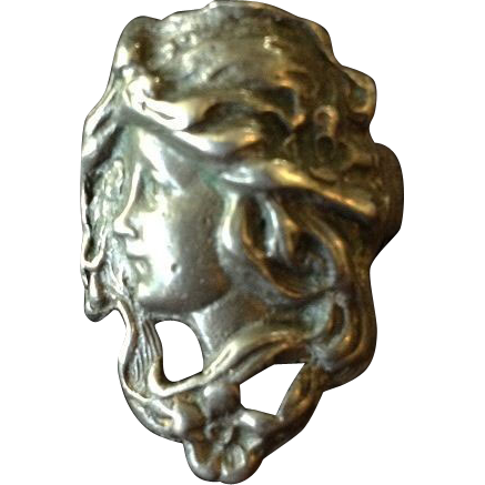 Hand Crafted Art Nouveau Style Figural Lady Face Ring.
