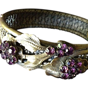 Stunning Victorian Filigree Brass and Deep Amethyst Glass Flower and Leaf Design Bangle Bracelet.