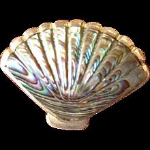 Antique Australian Paua Shell and Silver Fan Brooch/Pin.
