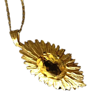 Hallmarked Sunburst 9K Yellow Gold and Natural Golden Topaz Pendant.