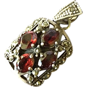 Vintage Victorian Revival Silver Marcasite and Garnet Pendant