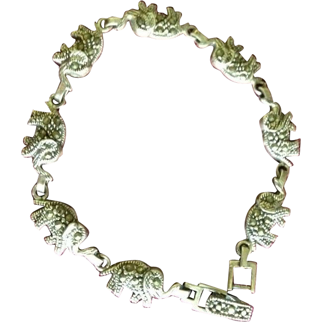 Indian Made Elephant Asian Silver Marcasite Link Bracelet c1970