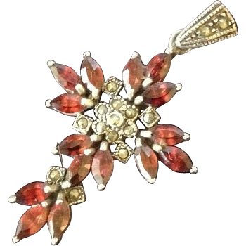 Vintage Garnet Sterling Silver and Marcasite Cross Pendant.