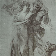 Rare Original Engraving The Age of Gold from a Drawing by Auguste Rodin..Studio Magazine 1913.