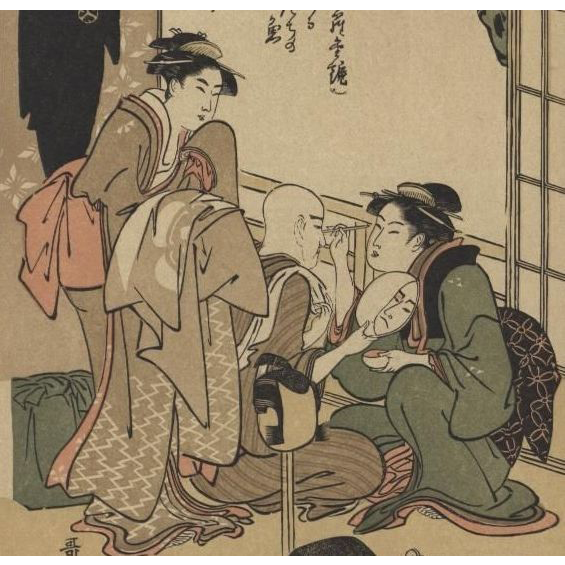 Antique Signed Japanese Lithograph by Utamaro 1909.