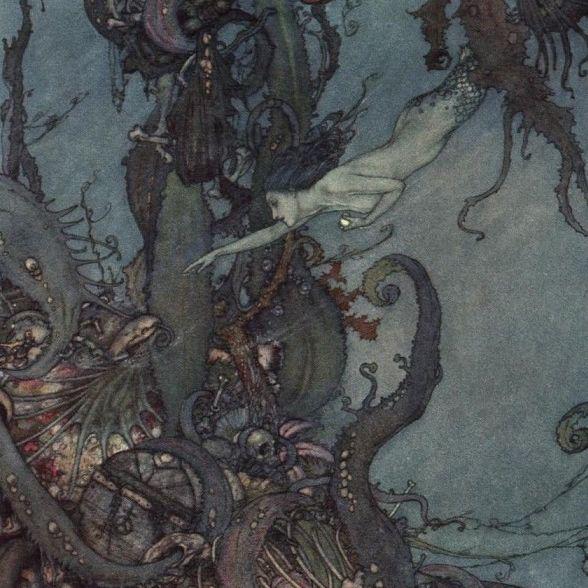 Antique Half-Tone 'Mermaid and Sunken Treasure' Color Engraving c1910.