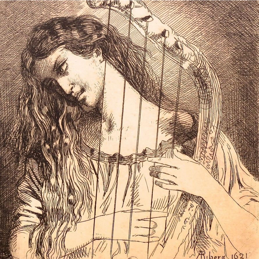 'Young Girl Playing a Harp' Small French Etching Signed Ribera 1621.