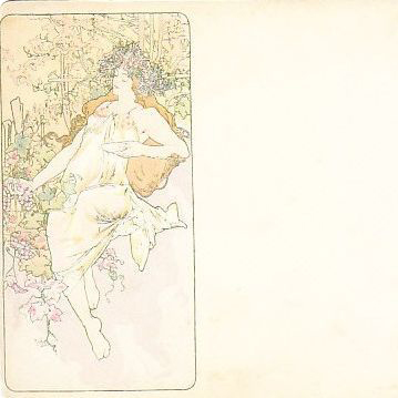 Alphonse Mucha 'Autumn Panel' Original Signed French Postcard 1896.