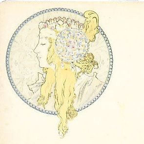 Alphonse Mucha 'Byzantine Blonde' Original Signed French Postcard 1896.