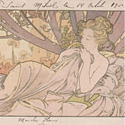 Rare Alphonse Mucha Signed Original French Postcard 'Dusk' 1902.