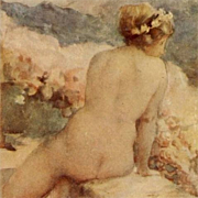 Italian Issue French Artist 'Nude on a Wall' Postcard
