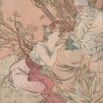 Alphonse Mucha Signed 'Old Age' French Postcard 1905.