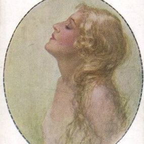 Austrian Signed 'Girl with Flowing Blonde Hair' Postcard Art Deco era.