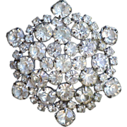 Huge Art Deco Snowflake Rhinestone Brooch/Pin c1930. Magnificent.