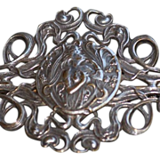 Original Art Nouveau French Silver Plate 'Lady' Brooch/Pin c1900.