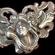 Large Antique European Art Nouveau 'Poppy Girl'  Brooch/Pin c1900