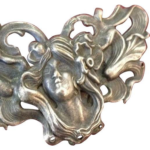 Large Antique European Art Nouveau 'Poppy Girl'  Brooch/Pin c1900