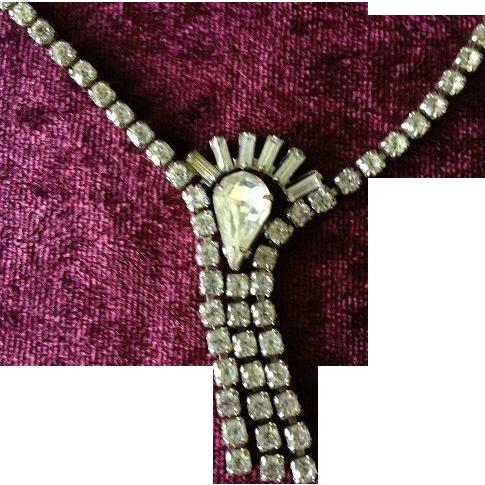Art Deco Rhinestone Lavaliere Necklace c1930
