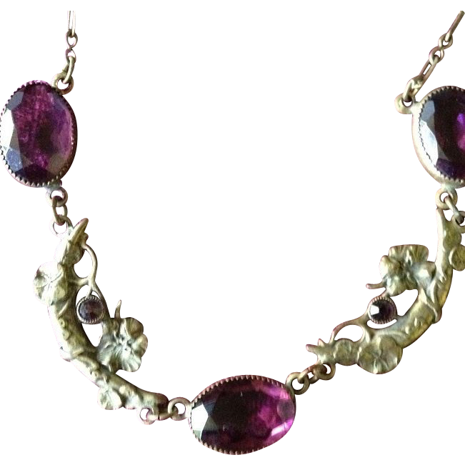 Bohemian Czech Amethyst Glass and Pressed Brass Necklace c1900.