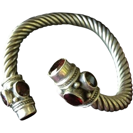 Vintage Barley Twist Sterling and Garnet 'Snake Style Slave' Bangle Bracelet.