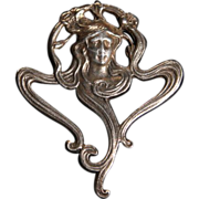 Art Nouveau Sterling Silver Lady Face Pendant Brooch c1900.