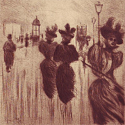 Original Signed French Etching Proof 'La Soir Montmartre' 1896 by Boutet.