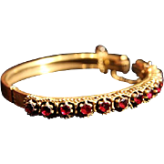 Large Rhodolite Garnet Etruscan Revival Gold-Washed Hinged Bangle Bracelet.
