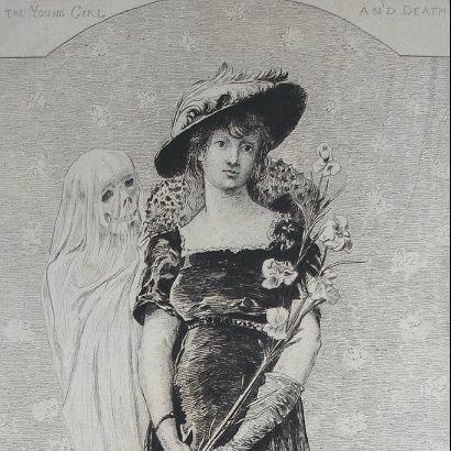 Sarah Bernhardt French Etching 'La Jeune Fille et La Mort' 1880.