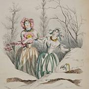 Rare Antique Grandville Belgian Engraving 'Primevere Perce-Neige' from Les Fleurs Animees 1852.