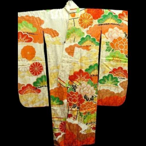 Vintage Cream Figured Silk and Embroidered Floral Furisode Kimono c1940.