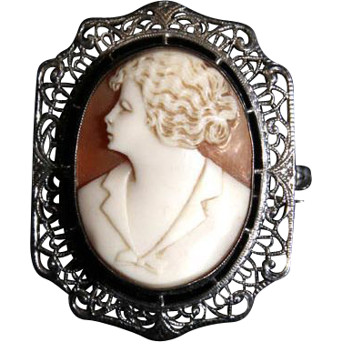 Art Deco Filigree Rhodium and Carved Shell Cameo Brooch Pin  c1920