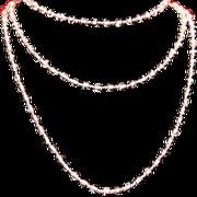 Art Deco Pink Art Glass Bead Long Flapper Necklace c1925.