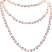 Art Deco Pink Art Glass Bead Long Flapper Necklace c1925.