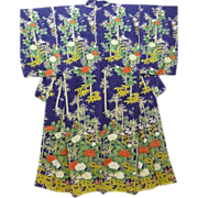Vintage Blue/Purple Silk Floral Houmongi Visiting Dress Kimono c1940.